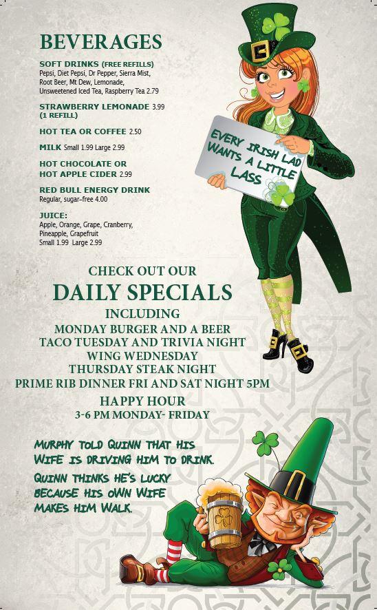 Oblarney's Page 5 - O'Blarney's Irish Pub