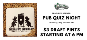 Pub Quiz Night With Triceratops Brewing in Olympia - O